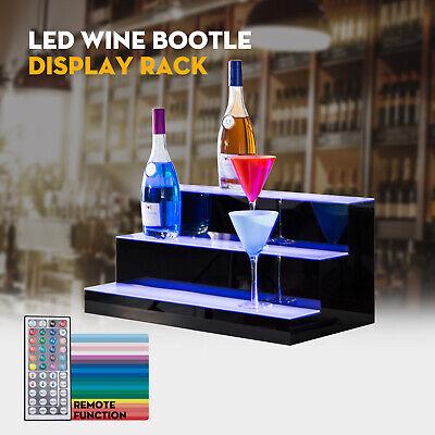 24 3 Step Tier Led Lighted Back Bar Glowing Liquor Bottle Display Shelf Stand