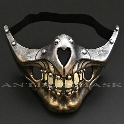 Halloween Steampunk Half Face Skull sharp jawline Burning Man Party - Steampunk Half Mask