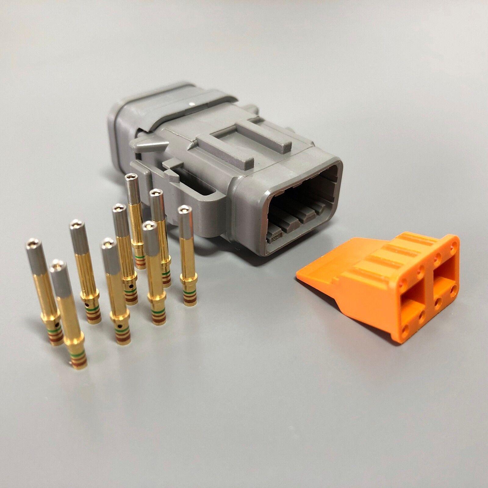 3x Deutsch DTM 8-Way Socket Connector Kit 24-20 AWG Gold Contact Plug DTM06-8S