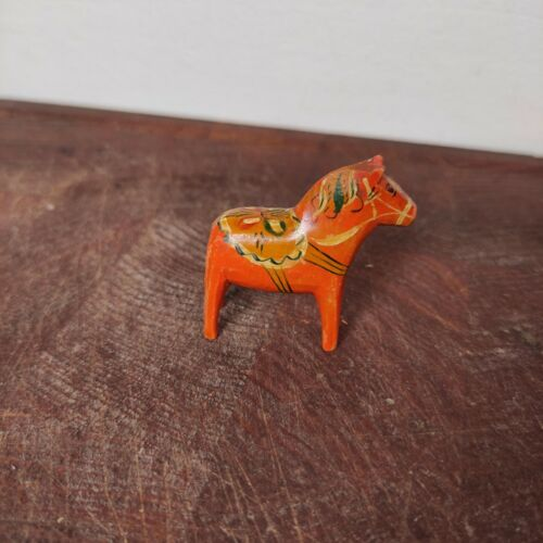 """Antique dala horse authentic swedish Hemslojd wooden 1.7"""" from early 1900´s"""