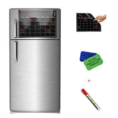 "16"" x 12"" Refrigerator Calendar Monthly Dry Erase Magnetic Flexible Black Board"