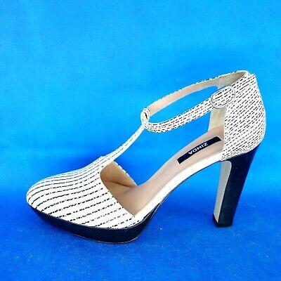 Zinda Elegante Mujer Zapatos Negro Blanco Rayas Cuero Talla 38,5 Np 189...