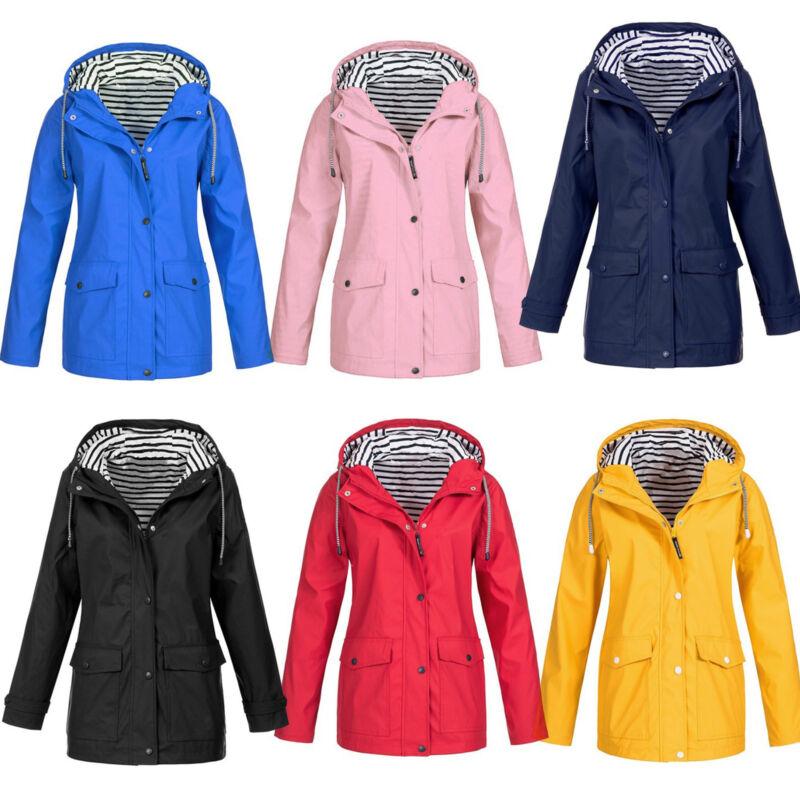 Plus Size Women Long Sleeve Hooded Jacket Ladies Outdoor Win