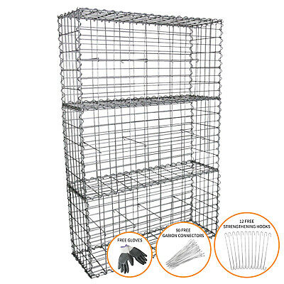 Gabion Baskets Outdoor Cages Stone Wire Mesh Planter / 100 x 50 x 30cm / 3 Pack