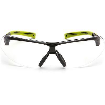 Pyramex Onix Safety Glasses with Clear Anti-Fog Lens, Black/Green Frame