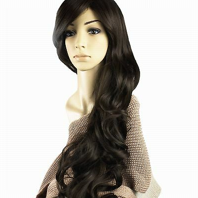 Dark Brown Glamour Long Wig Fashion Full Wavy Curly Wig Hair Women Ladies party - Glamour Wig