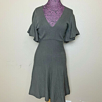 Free People Sz S Olive Green Flirty Knit Dress *Missing Size Tag