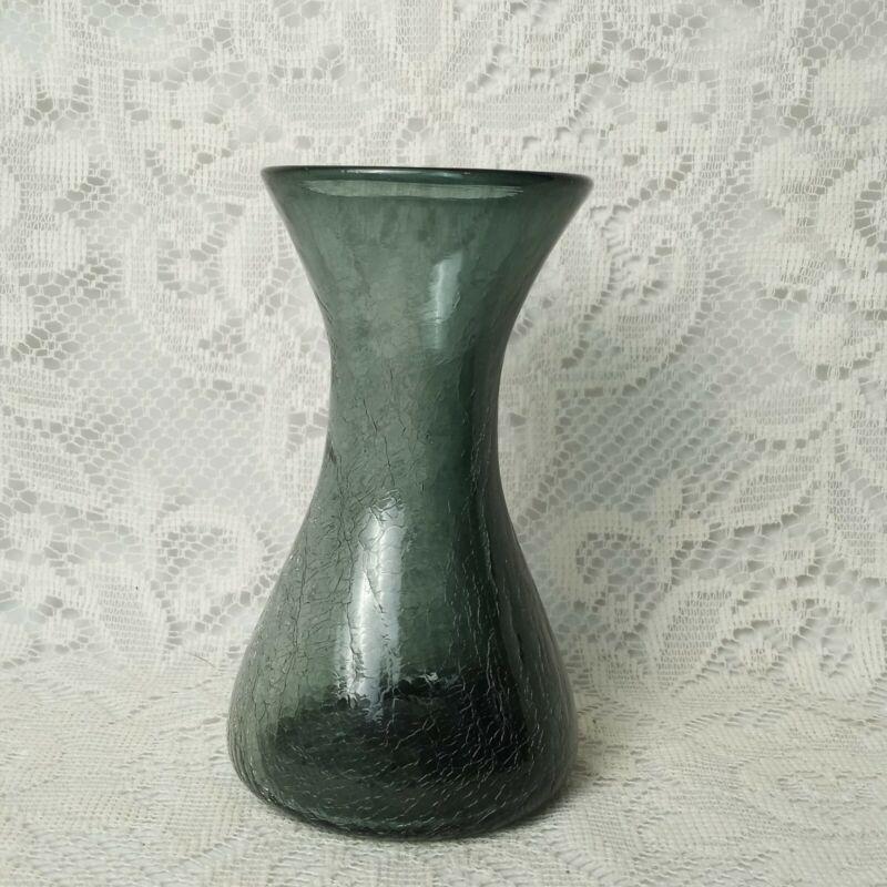 Rare 1950s Wayne Husted Blenko Charcoal Gray Crackle Glass Sheaf Vase #5318