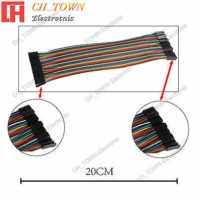 40pcs 20cm Dupont Wire Cables Line Jumper Connector 1p-1pin Female To Female Usa