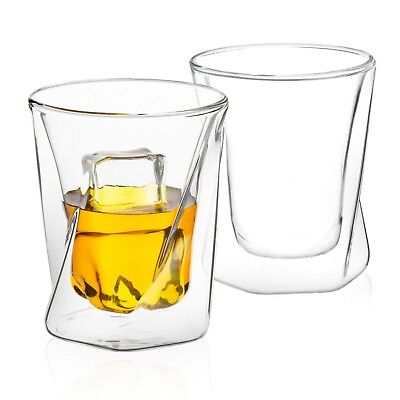 JoyJolt Lacey Double Wall Insulated Cups, 10 Oz Set of Two Whiskey Glasses](Glasses Cup)
