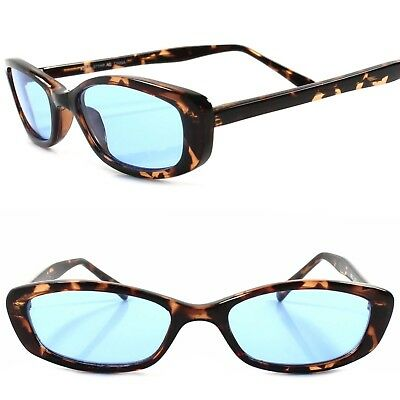 Classic True Vintage 90s Urban Fashion Blue Lens Tortoise Rectangle Sunglasses