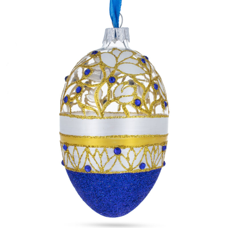 Golden Wines Jeweled Egg Glass Ornament