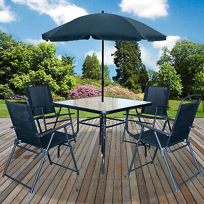 6PC Garden Patio Furniture Set Outdoor Black 4 Seater Large Square Table Parasol