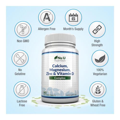 Zinc Calcium Magnesium & Vitamin D Complex Supplement 365 Vegetarian Tablets 1