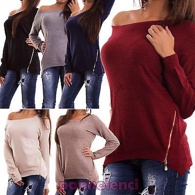 Pullover Frau Lange Ärmel Reißverschluss Asymmetrisch Jersey Sexy Neu H5001 - Jersey Lange Ärmel Pullover