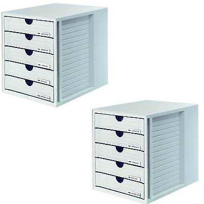 2 x Schubladenbox SYSTEMBOX, DIN A4C4, 5 geschlossene Schubladen, lichtgrau
