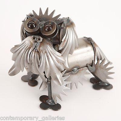 New Yardbirds Unpainted Recycled Metal Tiny Bichon Dog Sculpture Handmade USA (Yardbirds Sculpture)