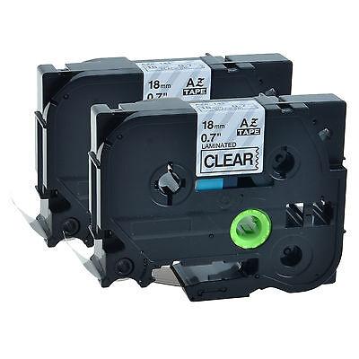2 Pack Black On Clear 18mm Tape For Brother Tz-141 Tze141 Pt-d450 Label Maker