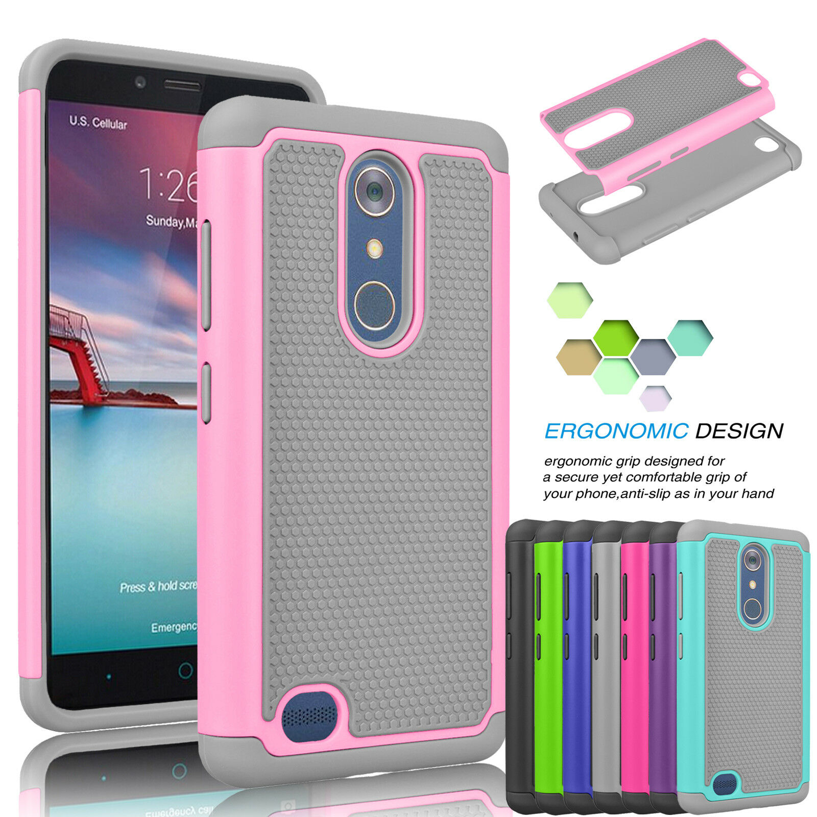 Купить Unbranded/Generic 2 in 1 Combo, Best Protection - For ZTE Zmax Pro / Z981 Shockproof Armor Hybrid Rubber Impact Hard Case Cover