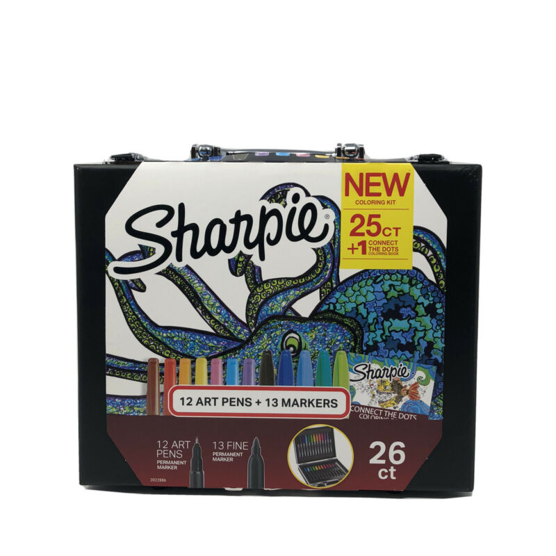 SHARPIE 26 COUNT COLORING KIT WITH ART PENS AND COLORING BOOKLET NEW