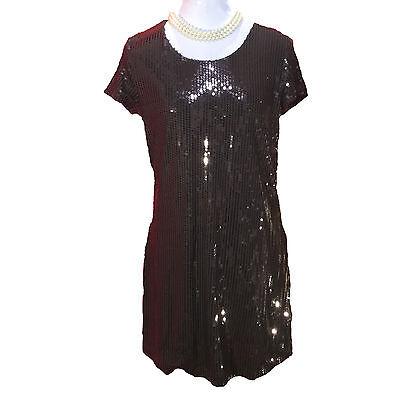 "Tulle | ""Piano Bar"" Dress Women's Black Sequined Party Dress Shift – Sz M - Piano Dress"