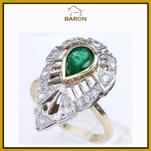 Emerald Ring Vintage Victorian 14k Yellow Gold Diamond Emerald Ring Size 8 (md40