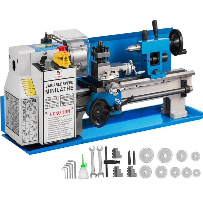 "7"" x 14"" Mini Metal Lathe 550W Machine Variable Speed 0-2250 RPM High Precision."