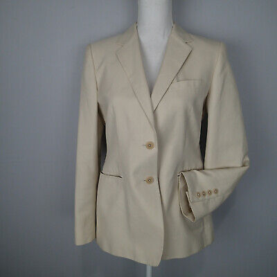 Lauren Ralph Lauren 10p  cream Blazer Cotton Silk Blend jacket carrer