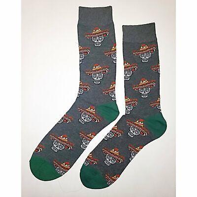 NWT Day Of The Dead Dress Socks Novelty Men 8-12 Gray Fun Sockfly - Day Of The Dead Socks