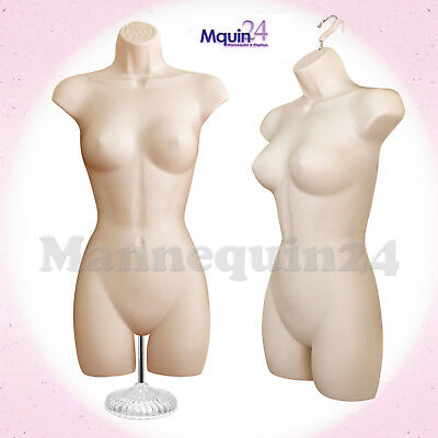 One Female Torso Mannequin - Flesh Women Dress Form W Stand Hook For Hanging