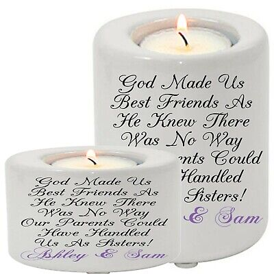 Personalised Ceramic Tea Light Candle Holder Best Friend Sisters Friends