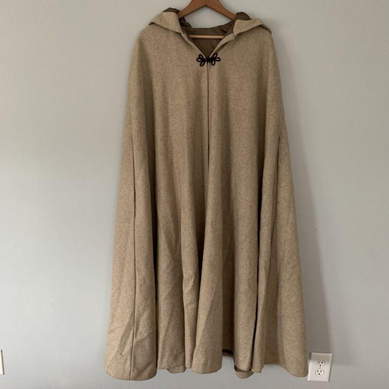 100% Wool Hooded Cloak, Tan, Renaissance, Lagenlook, Cosplay, OSFM