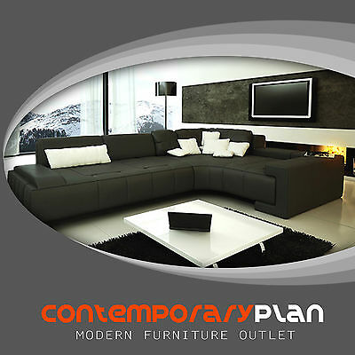 L Shape Black Leather Sectional Sofa Couch - Franco Italian Design Many Pillows