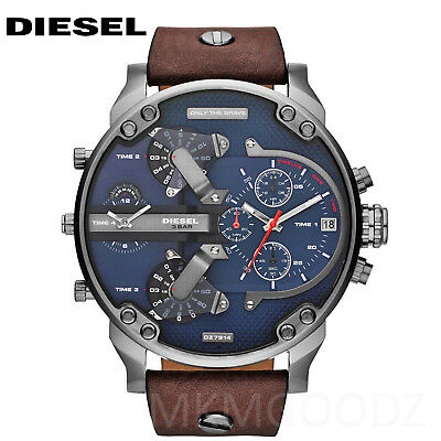 New Diesel Dz7314 Mr Daddy 2 0 Navy Blue Dial Brown Leather Gunmetal Mens Watch