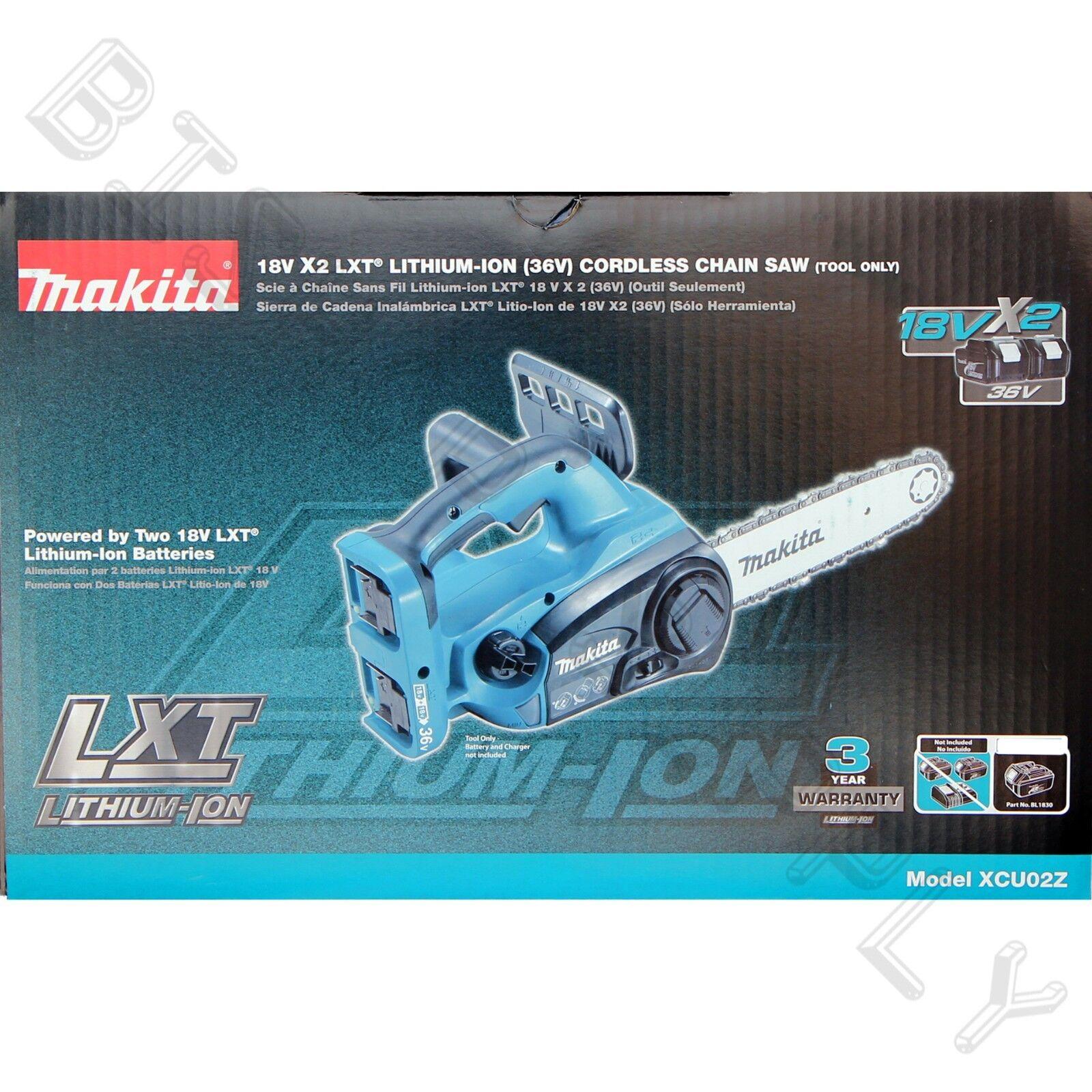 """Makita XCU02Z 36Volt 12"""" Chain Saw NEW HCU02ZX2 Cordless 18V x2"""