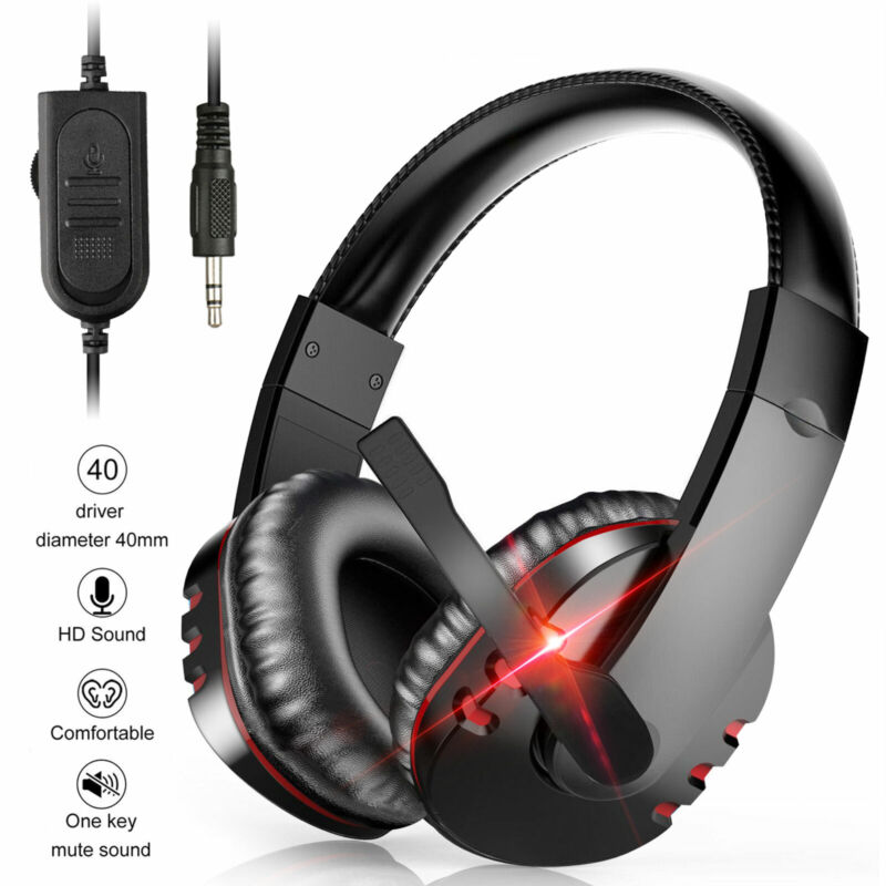 Gaming Headset Stereo Surround Headphone 3.5mm Wired Mic For PS4 Xbox One Laptop