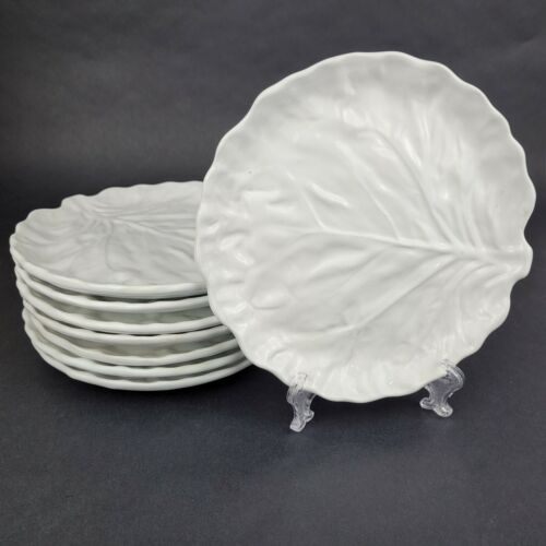 Vintage BELO Pottery White Cabbage Leaf Plates Lot of 6
