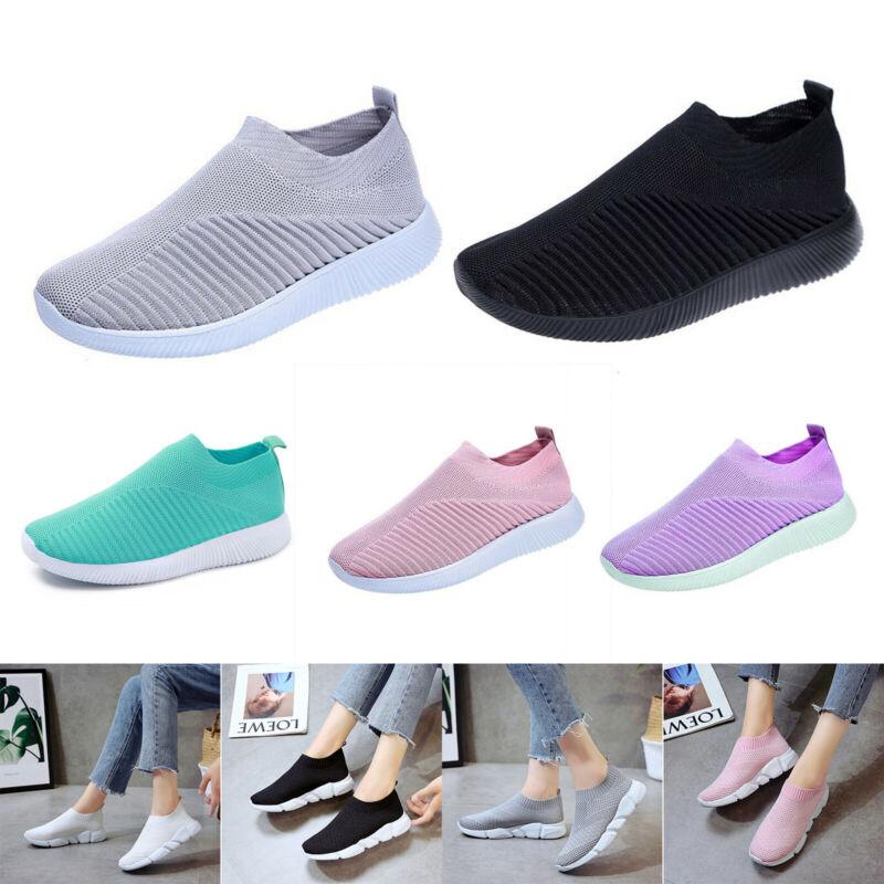 Damen Halbschuhe Schuhe Sportliche Slipper Flats Slip On