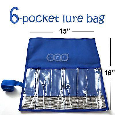 1pcs Blue Fishing 6-Pocket Lure Jig Bag Rollup Trolling Storage Jig bait bags