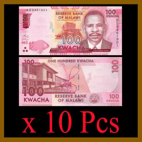 Malawi 100 Kwacha x 10 Pcs, 2017 P-65 James Frederick Sangala Unc