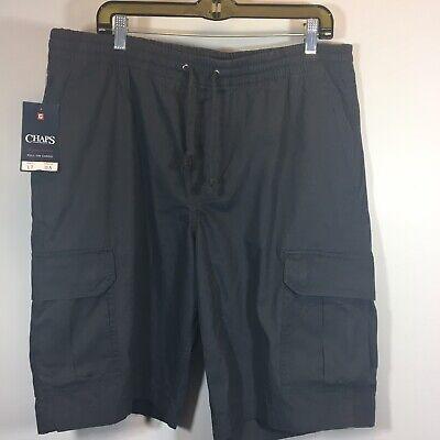 CHAPS Shorts  Big & Tall Washed Poplin Cargo Dark Grey Elastic Waist LARGE