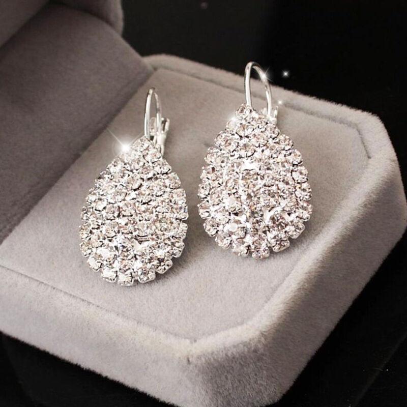 Jewellery - 925 Sterling Silver Lovely Women Crystal Rhinestone Earrings Elegant Jewelry