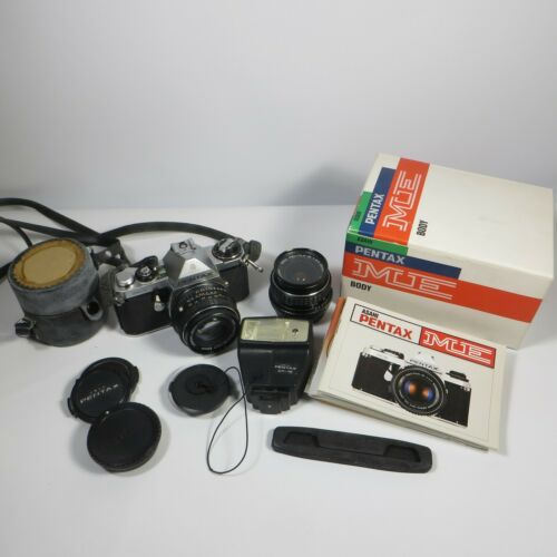 Asahi PENTAX ME 35mm SLR Film Camera Extra Lens Flash Manuals Japan SMC 1:1.7 50