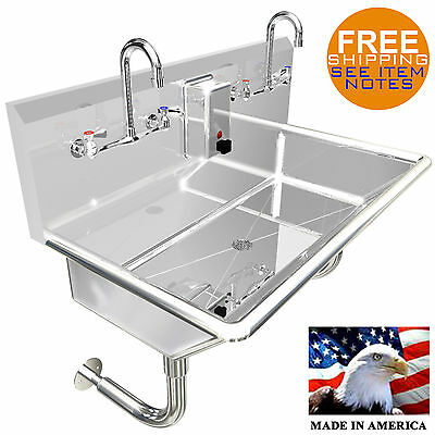 Hand Sink Stainless Steel 14ga Multi Users 2 Person 36 Manual Faucet Wall Mount