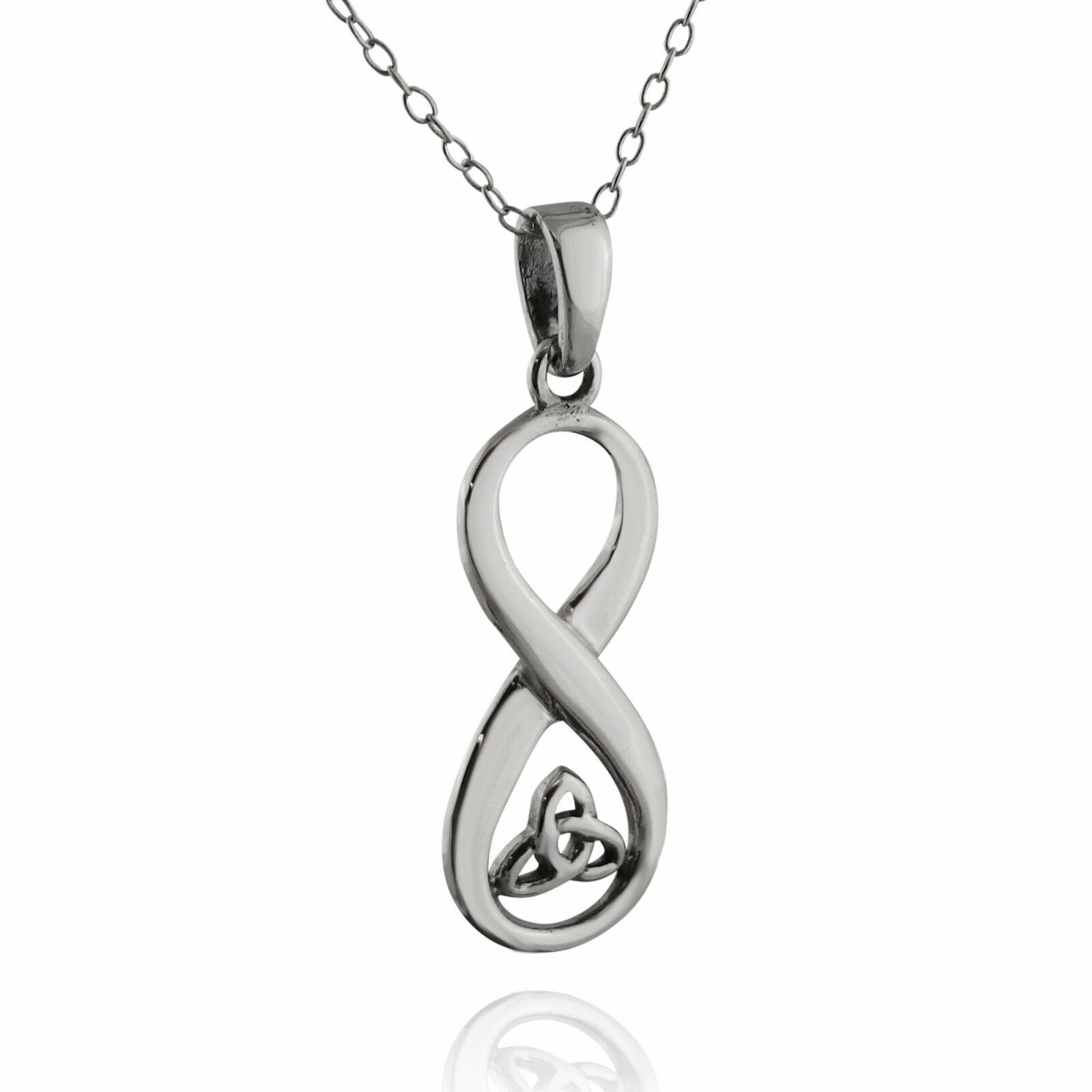 Trinity Knot Infinity Sign Necklace - 925 Sterling Silver Pendant Love Gift NEW