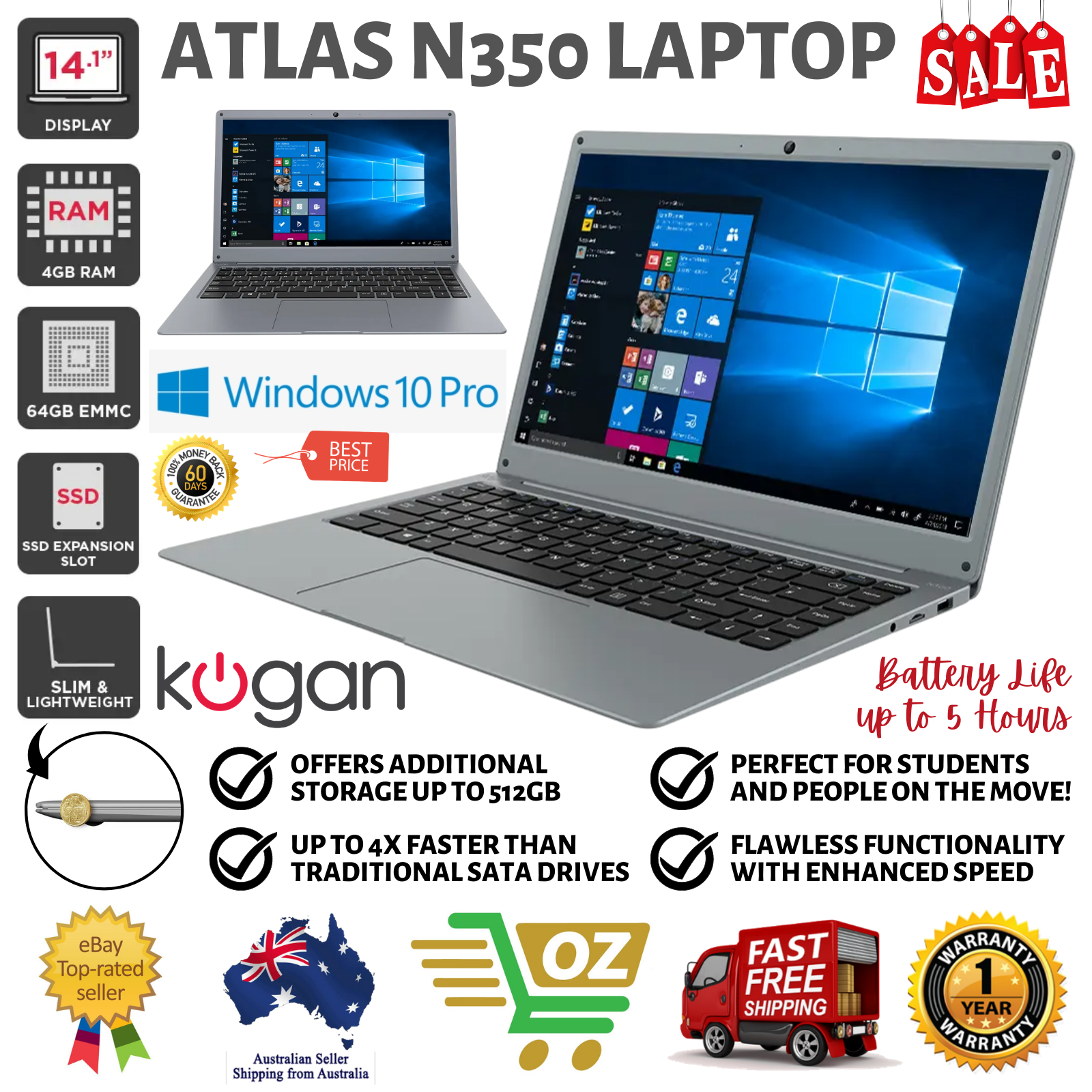 "Laptop Windows - Kogan Atlas 14.1"" 4GB N350 Slim and Lightweight Laptop with Windows 10 Pro"