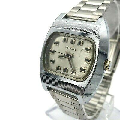 Vintage Raketa Plata TV Esfera Acanalado Estuche Urss Baker Reloj Export Grabado