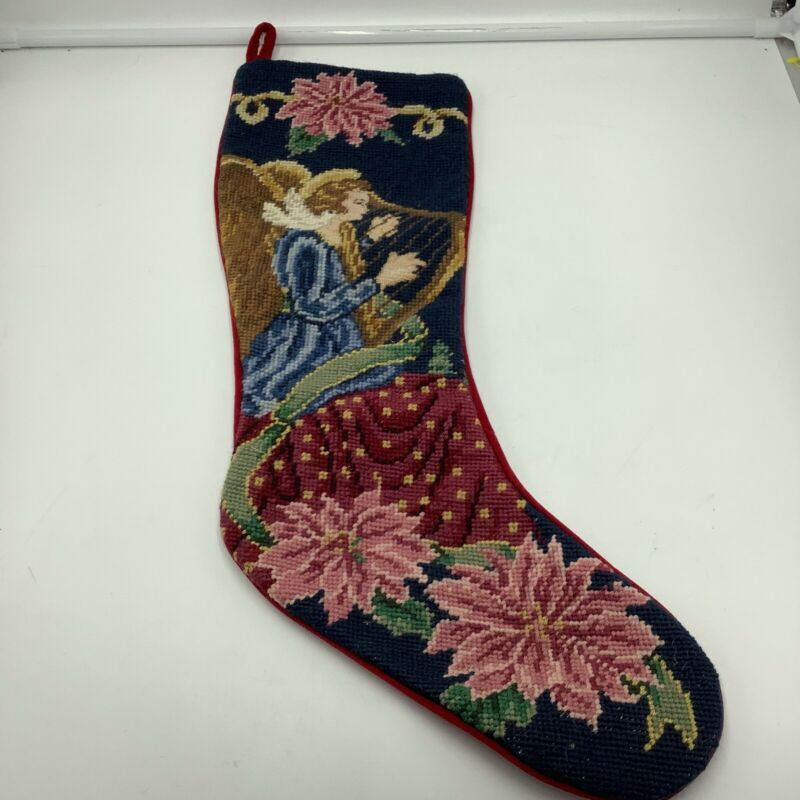 Angel Harp Needlepoint Christmas Stocking Wool Poinsettia Velvet Red
