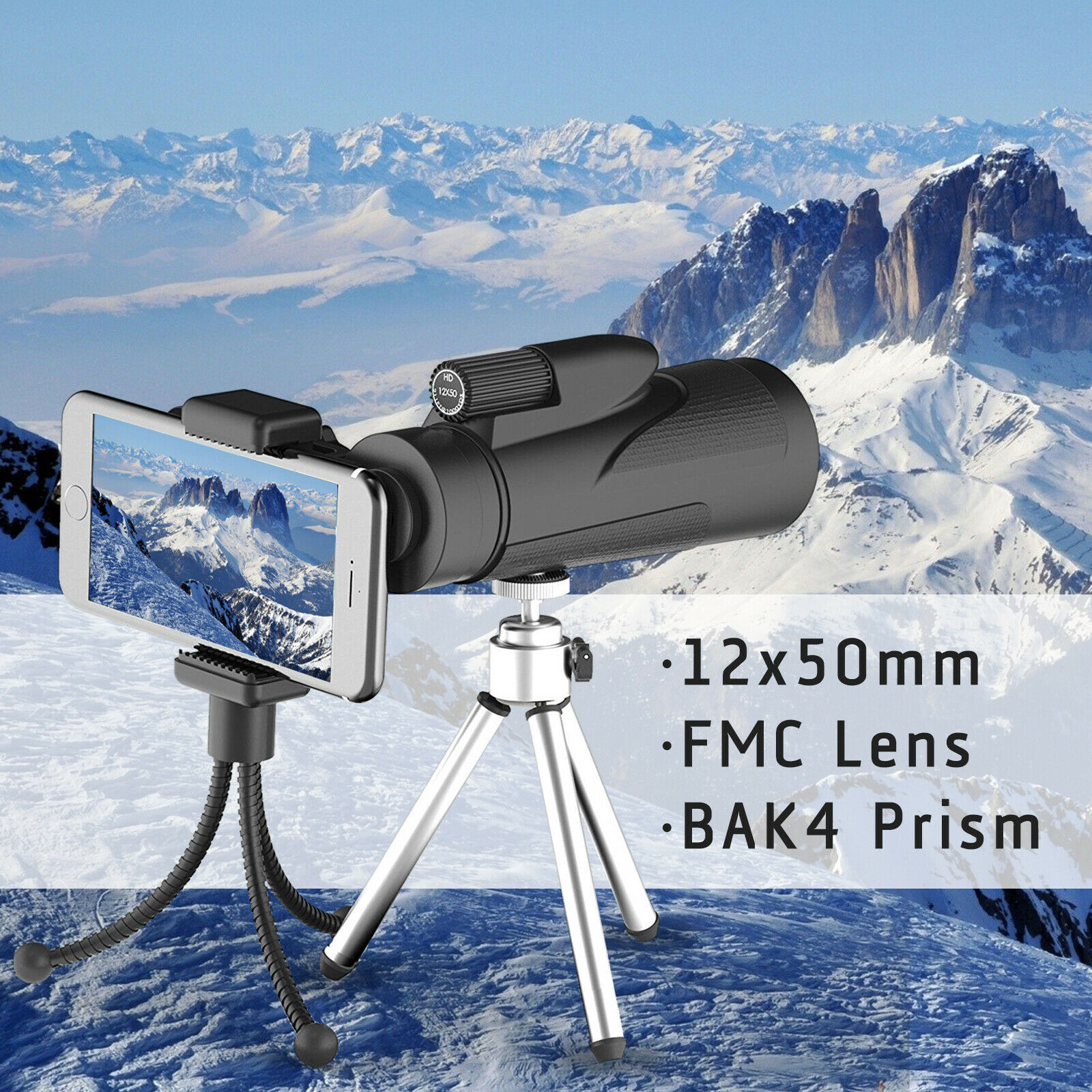 12x50 High Power BAK-4 Prism Monocular Telescope FMC Lens+Tr