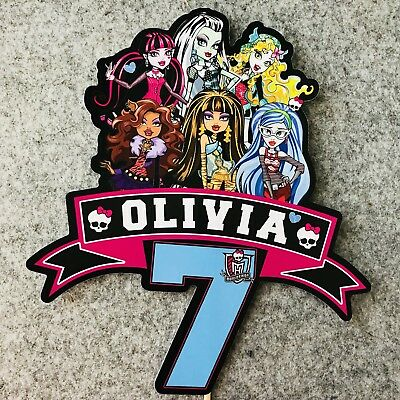 Monster High PERSONALISED Cake Topper.  Lolly Loot Bag Party Supplies Bunting ()